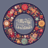 Merry Christmas wreath with Christmas toys. Royalty Free Stock Photos