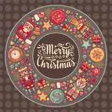Merry Christmas wreath with Christmas toys. Stock Images