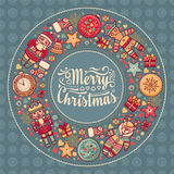 Merry Christmas wreath with Christmas toys. Balls, Santa Claus. Nutcracker, Snowman, gift box. Christmas tree, clock, Reindeer. Colorful round frame for Royalty Free Stock Photos