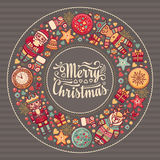 Merry Christmas wreath with Christmas toys. Royalty Free Stock Photography