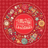 Merry Christmas wreath with Christmas toys. Balls, Santa Claus. Nutcracker, Snowman, gift box. Christmas tree, clock, Reindeer. Colorful round frame for Royalty Free Stock Photo