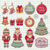 Merry Christmas wreath with Christmas toys. Balls, Santa Claus. Nutcracker, Snowman, socks, gift box. Christmas tree, clock,. New Year vector image Stock Photo