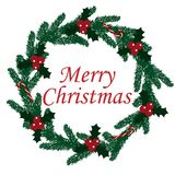 Merry Christmas wreath fir-tree holly berry candy cane vector.  Stock Images