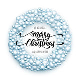 Merry Christmas wreath. Glass ball ornament decoration Stock Photo
