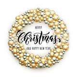 Merry Christmas wreath. Glass ball ornament decoration Royalty Free Stock Image