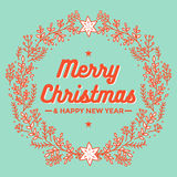 Merry christmas, wreath, happy new year greeting card. Merry christmas and happy new year for greeting card template, design with flower wreath in green Stock Image