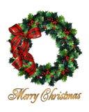 Merry Christmas wreath holly Stock Photos