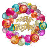 Merry Christmas wreath, new year decoration with lettering. Holidays hand calligraphy quotes on colorful balls with confetti and glitter. Vector decorative Royalty Free Stock Photo
