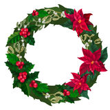 Merry Christmas wreath, new year decoration with mistletoe, holly and Christmas star plant. Vector decorative elements on white background, new year decoration Royalty Free Stock Image
