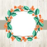 Merry christmas wreath. Merry christmas wreath over wooden wall isolated on white background. Vector illustration Stock Photos