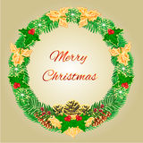 Merry Christmas wreath with pinecones  holly and yew vector Stock Image