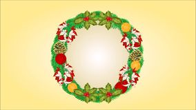 Merry Christmas wreath with ribbons poinsettia and pinecone video. Animation of illustration Merry Christmas wreath with ribbons poinsettia and pinecone video stock footage