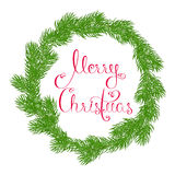 Merry Christmas wreath. Round wreath or frame of spruce branches with Merry Christmas greetings in red on a white background. Isolated. Card. Hand drawn vector Stock Images