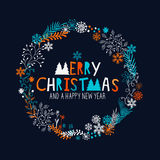 Merry Christmas Wreath Royalty Free Stock Images