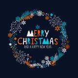 Merry Christmas Wreath stock illustration