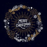Merry Christmas Wreath Stock Images