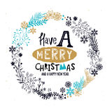 Merry Christmas Wreath royalty free illustration