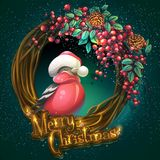 Merry Christmas wreath of vines ash berry and bullfinch. Vector cartoon illustration Merry Christmas wreath of vines and leaves on a green background with ash Stock Photos
