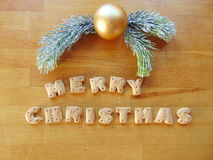 Merry christmas written with cookies Stock Images