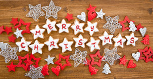 Merry Christmas written on cookies Royalty Free Stock Photos