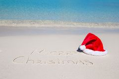 Merry Christmas written on tropical beach white Royalty Free Stock Image