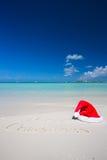 Merry Christmas written on tropical beach white Stock Image