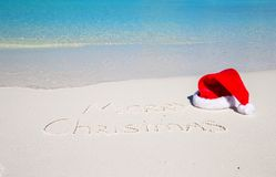 Merry Christmas written on tropical beach white Royalty Free Stock Photography