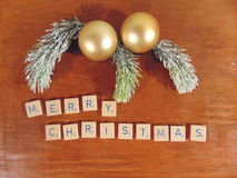 Merry Christmas written on wood with decoration. Merry Christmas written with decoration above stock photo