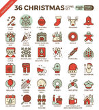 Merry Christmas, xmas, celebration outline icons Royalty Free Stock Image