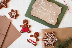 Merry Christmas! Xmas cookies, Gingerbread man, ribbon, card, fe Stock Photography