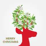 Merry christmas with xmas decoration on head deer, vector card Royalty Free Stock Photography