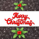Merry Christmas. Xmas lettering and holly on black Stock Image