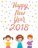 Happy New Year 2018 Text With Boy And Girl. Merry Christmas Xmas Objects Animals Festive Celebrations royalty free illustration
