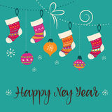 Merry Christmas - Xmas socks greeting card Royalty Free Stock Photography