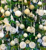 Merry christmas, xmas tree with decoration closeup Royalty Free Stock Photo