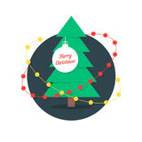 Merry christmas with xmas tree and garlands Stock Photos