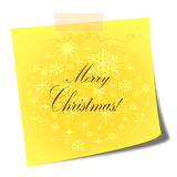 Merry christmas yellow post it note Stock Photography