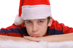 Merry Christmas young boy pout Stock Images