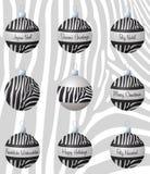 Merry Christmas. Zebra inspired Christmas baubles in vector format Stock Image