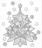 Merry Christmas zentangle fir tree doodle . Stock Photo