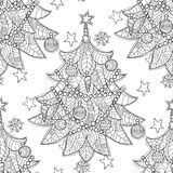 Merry Christmas zentangle fir tree doodle . Hand drawn vector background with Christmas decorations, Christmas tree, ball, star and snowflakes Stock Photos
