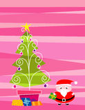 Merry Christmas2, illustration. Santa Claus puts a lot of gift under the christmas tree stock illustration