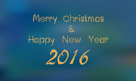 Merry christmasand 2016 Happy new year greeting card Stock Image