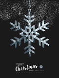 Merry christmasr silver snow greeting card design. Merry christmas happy new year fancy silver winter snowflake shape in hipster low poly style. Ideal for xmas Stock Photo