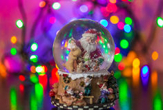 Merry Christmass. Christmas Snow globe Snowflake with bokeh background.Christmas Snow globe Snowflake close-up Stock Images