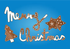 Merry christmass gingerbread. Vector graphic merry christmass gingerbread with stars and tree on blue background Stock Photography