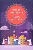 Merry christmass and Happy New Year card, poster. Royalty Free Stock Image