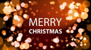 Merry Christrmas Card Design With White Lights Bokeh Background   Royalty Free Stock Photos