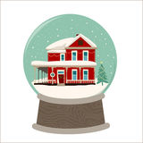 Merry Chritmas image of wooden house sunset Stock Photo