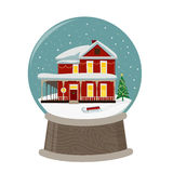 Merry Chritmas image of wooden house sunset Royalty Free Stock Images